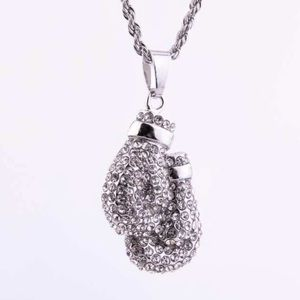 Boxing 🥊 Gloves Crystal Long Necklace New